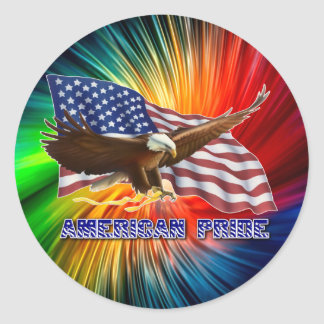 AMERICAN PRIDE EAGLE AND FLAG ROUND STICKER