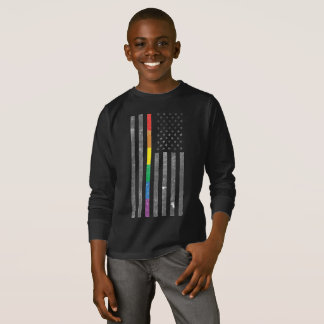 American Pride Flag Boy's Dark Long Sleeve T-Shirt