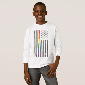 American Pride Flag Boy's Long Sleeve T-Shirt