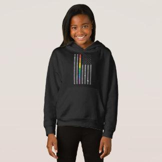 American Pride Flag Girl's Dark Hoodie
