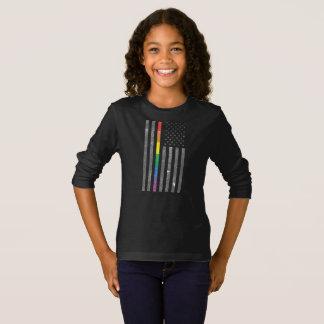American Pride Flag Girl's Dark Long Sleeve Tee