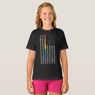 American Pride Flag Girl's Dark T-Shirt