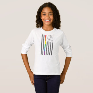 American Pride Flag Girl's Long Sleeve T-Shirt