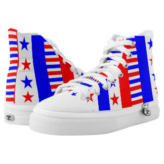 American Pride Flag Stars Stripes USA Patriotic High Tops