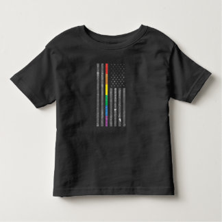 American Pride Flag Toddler Dark Jersey T-Shirt