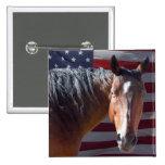American Quarter Horse and Flag - Patriotic 15 Cm Square Badge