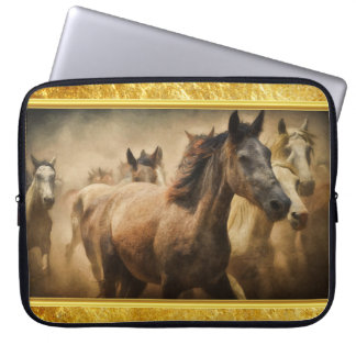 American Quarter Horse with a gold foil design Laptop Sleeve