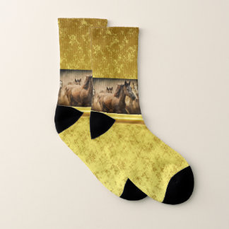 American Quarter Horse with a gold foil design Socks