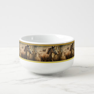 American Quarter Horse with a gold foil design Soup Mug