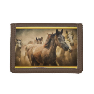 American Quarter Horse with a gold foil design Trifold Wallet