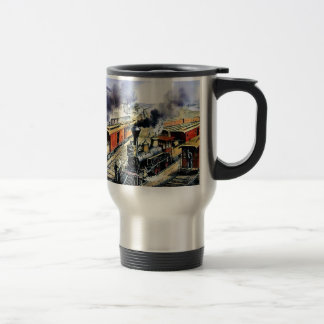 American railroad steam engine trains travel mug