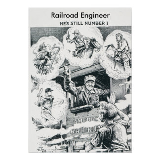 American Railroad Train Engineer Poster