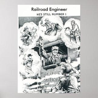 American Railroad Train Engineer Poster