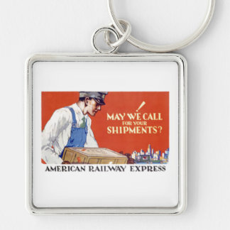 American Railway Express, May We Call Silver-Colored Square Key Ring