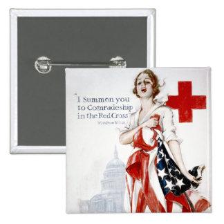 American Red Cross Vintage World War I Poster 15 Cm Square Badge