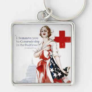 American Red Cross Vintage World War I Poster Silver-Colored Square Key Ring