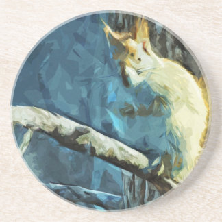 American Red Squirrel Abstract Impressionism Drink Coasters
