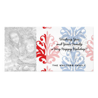american red white and blue damask photo greeting card