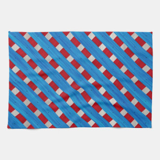 American Red White Blue Wooden Lattice Look Tea Towel