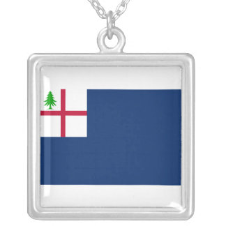 American Revolution Battle of Bunker Hill Flag Square Pendant Necklace