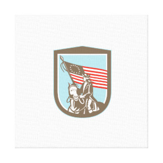 American Revolutionary Serviceman Horse Flag Retro Gallery Wrap Canvas