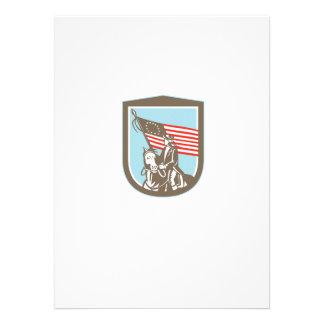 American Revolutionary Serviceman Horse Flag Retro Custom Invite