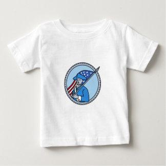 American Revolutionary Soldier Flag Circle Mono Li Baby T-Shirt