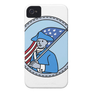 American Revolutionary Soldier Flag Circle Mono Li iPhone 4 Case