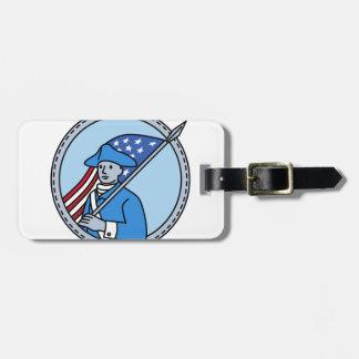 American Revolutionary Soldier Flag Circle Mono Li Luggage Tag
