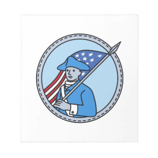 American Revolutionary Soldier Flag Circle Mono Li Notepad
