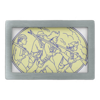 American Revolutionary Soldiers Marching Oval Mono Belt Buckle