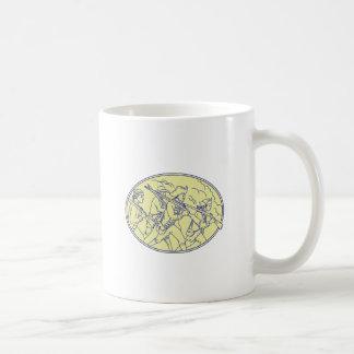 American Revolutionary Soldiers Marching Oval Mono Coffee Mug