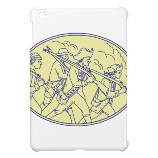 American Revolutionary Soldiers Marching Oval Mono iPad Mini Cover