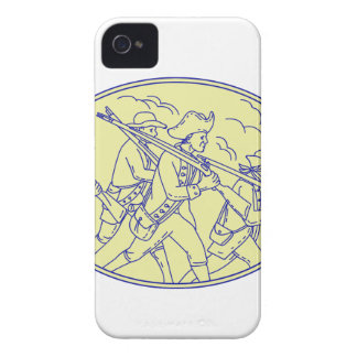 American Revolutionary Soldiers Marching Oval Mono iPhone 4 Case-Mate Case