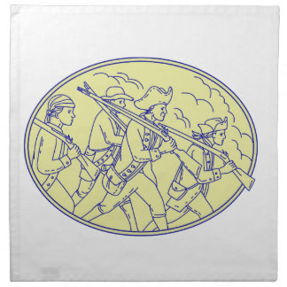 American Revolutionary Soldiers Marching Oval Mono Napkin