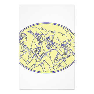 American Revolutionary Soldiers Marching Oval Mono Stationery