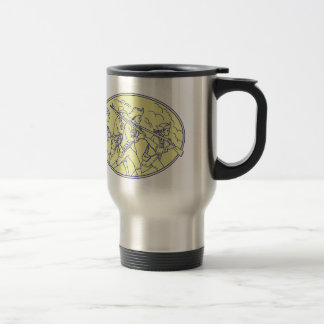 American Revolutionary Soldiers Marching Oval Mono Travel Mug