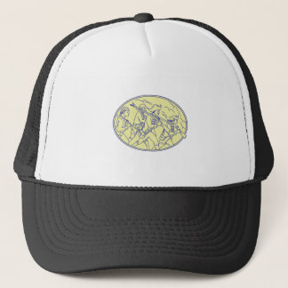 American Revolutionary Soldiers Marching Oval Mono Trucker Hat
