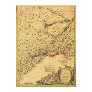 American Revolutionary War Map by J.B Eliot (1781) Stretched Canvas Prints