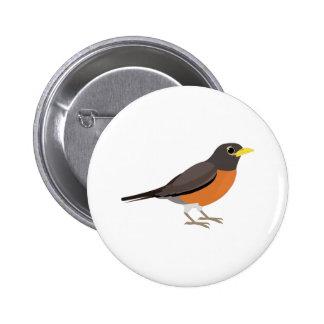 American Robin Illustration 6 Cm Round Badge