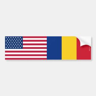 American & Romanian Flags Bumper Sticker