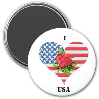 american rose heart 7.5 cm round magnet