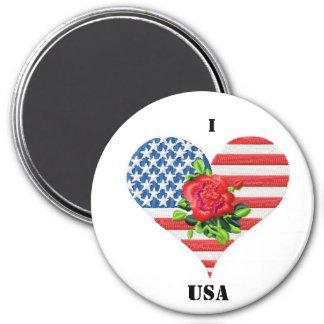 american rose heart 7.5 cm round magnet