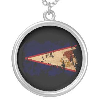American Samoa Flag Round Pendant Necklace