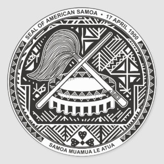 American Samoa Official Coat Of Arms Heraldry Symb Round Sticker