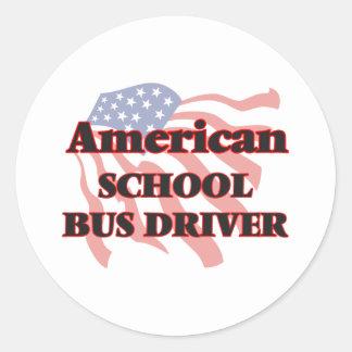 American School Bus Driver Round Sticker