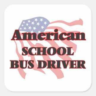 American School Bus Driver Square Sticker
