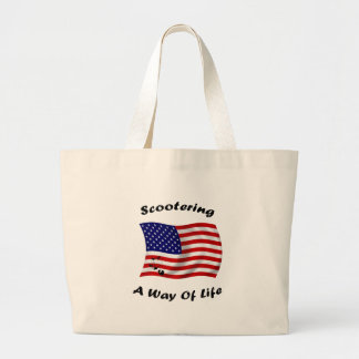 american scootering way of life white large tote bag