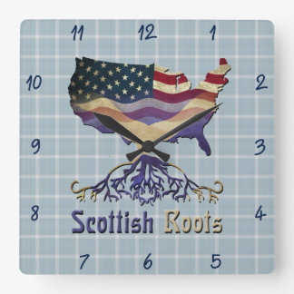 American Scottish Roots Square Wall Clock