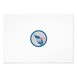 American Serviceman Soldier Flag Circle Retro Invitations